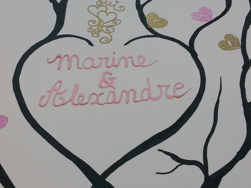 noms des mariés en peinture relief
