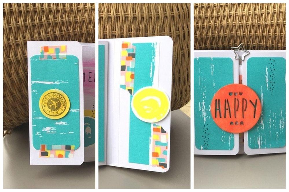 1. Décorer le mini album avec les papiers imprimés et accessoires de la collection Arty et des encres pour créer un rappel du papier coloré...