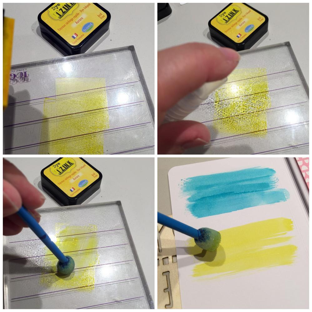 3. Poursuivre la décoration avec un rappel des couleurs de la collection avec les encres. Appliquer une encre Izink dye sur une surface lisse (ici, bloc acrylique) puis vaporiser un peu d'eau dessus.