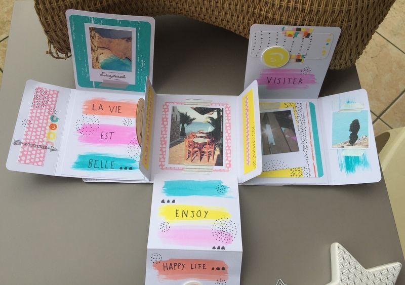 6. Poursuivre la décoration de l'album avec cette technique d'encrage et coller les photos souvenirs. Ajouter des tampons textes, du masking tape et des boutons pour apporter du volume.