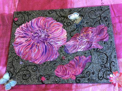 Peinture acrylique Sur carton toilé Avec collage