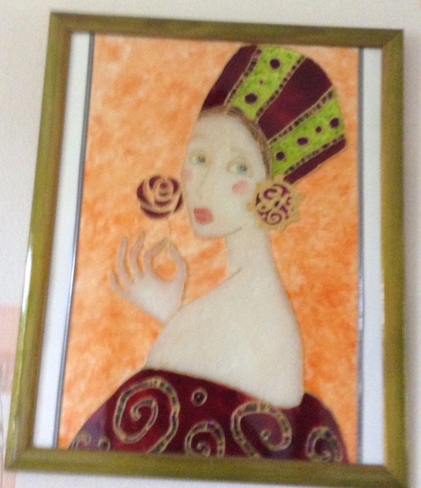 La princesse. Grand tableau peinture sur verre