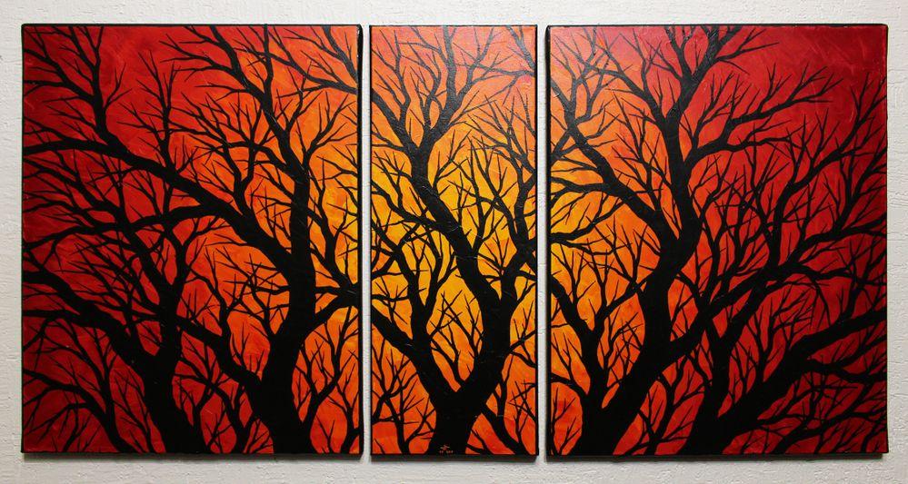 Tableau moderne : Triptyque silhouettes branchages.
