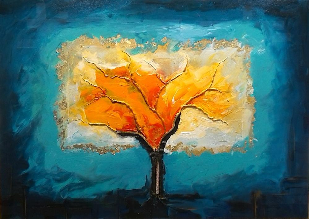 Osez peindre au doigt et  faites sortir d'une fermeture éclair ...un arbre  !