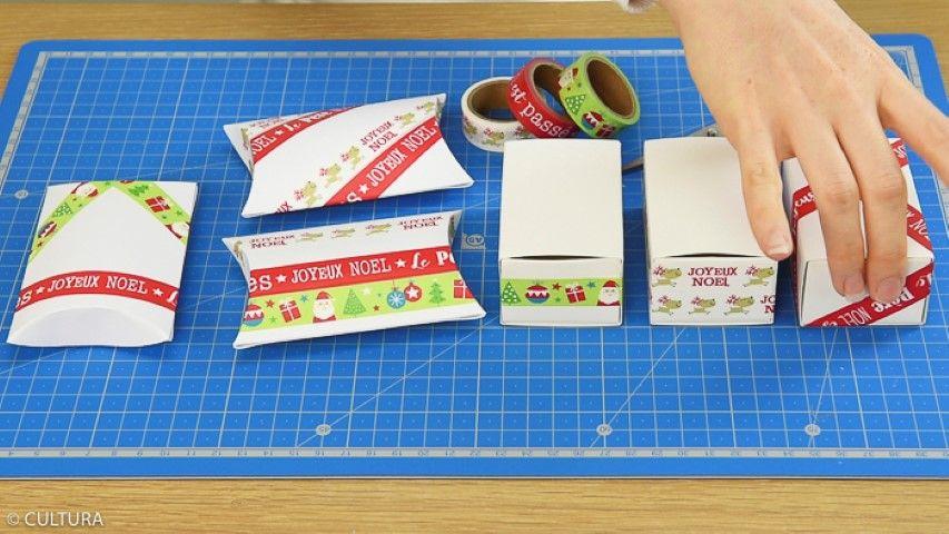 1. Décorer les boîtes pillow box et les côtés des boîtes d'allumettes avec des masking tapes de la collection.