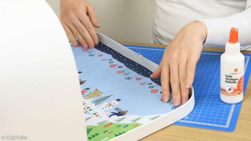 6. Créer une scénette à l'intérieur du couvercle avec les papiers de la collection.