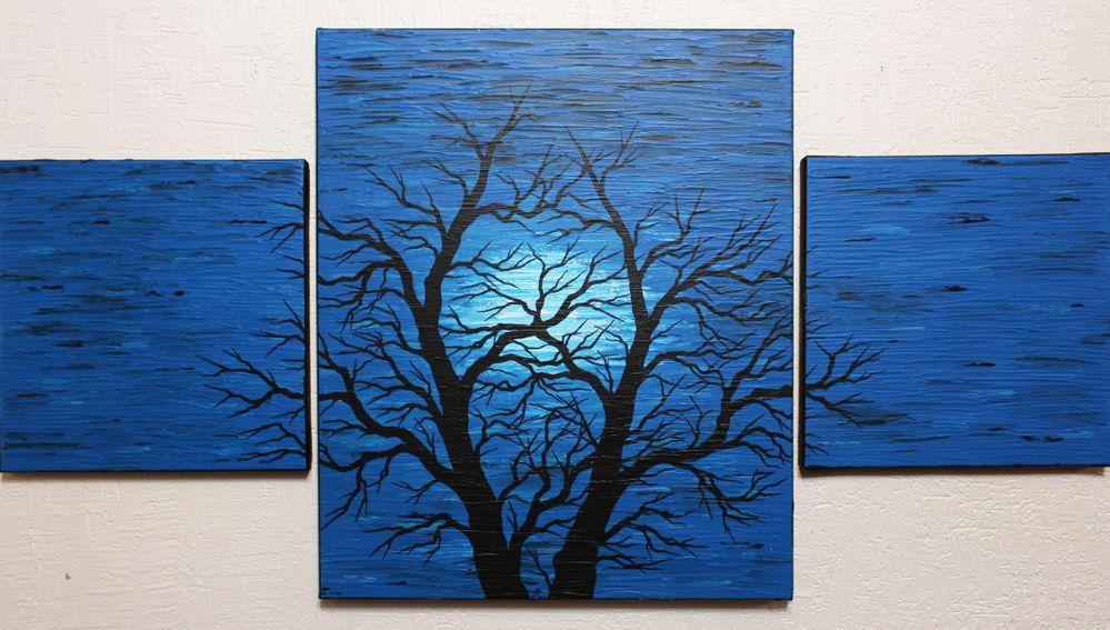 Triptyque moderne : Silhouette d'arbre obscure