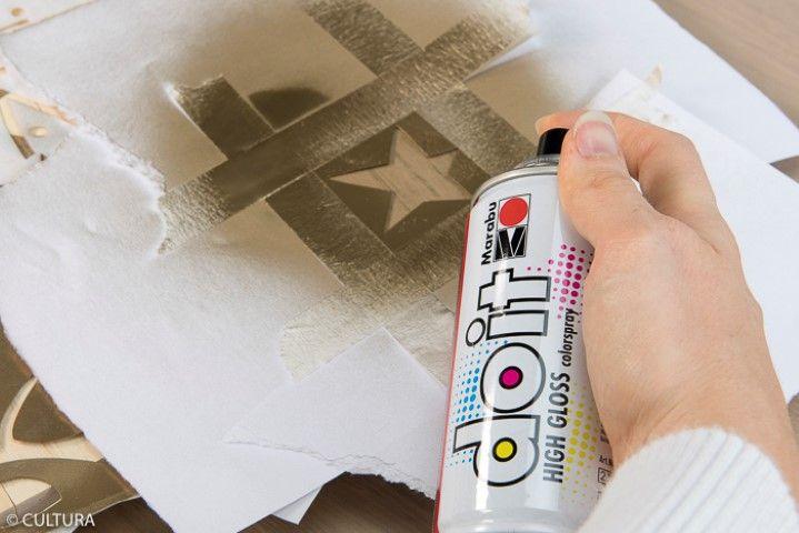 3. Répéter les deux étapes précédentes pour décorer la planche avec d'autres motifs du pochoir.
