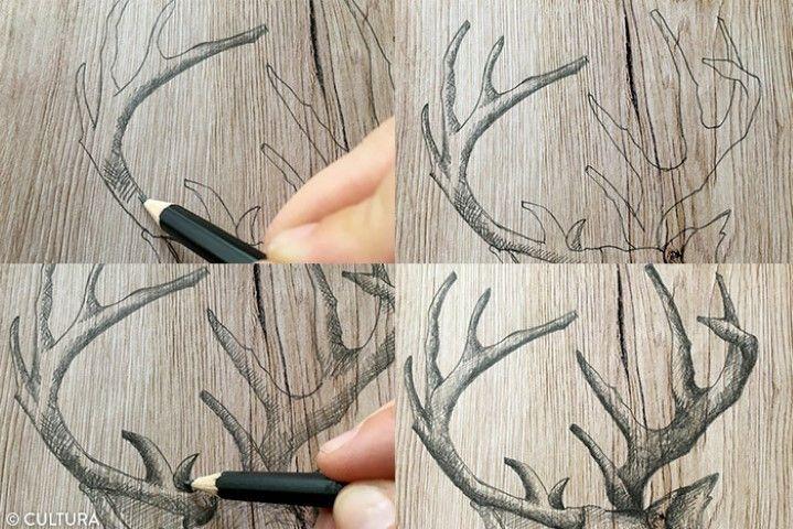 Ombrer le motif du cerf 1. Commencer par dessiner des hachures sur certaines parties des bois du cerf à l'aide d'un crayon HB, sans trop appuyer sur la mine. Repasser petit à petit avec un crayon 2B. Pour donner davantage de volume, poursuivre le travail d'ombres en coloriant avec un crayon 4B.