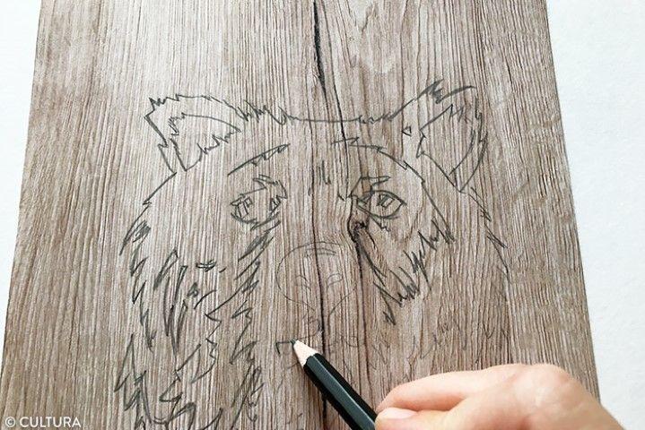 4. Repasser sur les traits décalqués avec un crayon HB pour qu'ils soient réguliers.