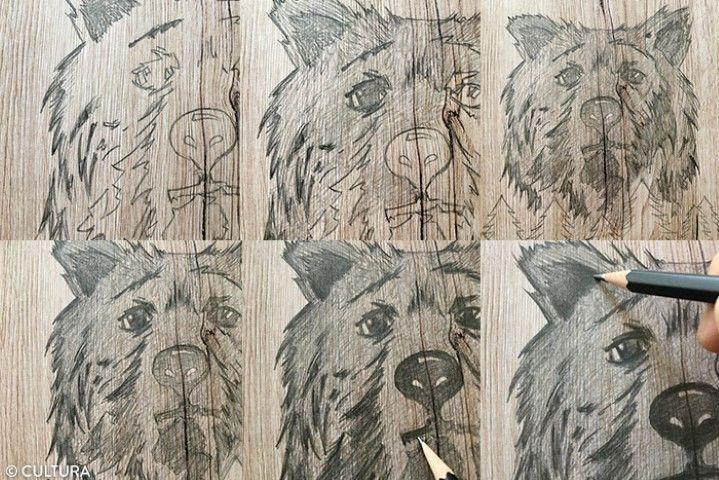Ombrer le motif de l'ours 1. Commencer par marquer davantage les contours de la fourrure de l'ours avec un crayon HB, en appuyant sur la mine. Repasser petit à petit avec un crayon 2B. Pour donner davantage de volume, poursuivre le travail d'ombres en coloriant avec un crayon 4B. Laisser les zones plus claires autour des yeux, au-dessus et endessous de la truffe.