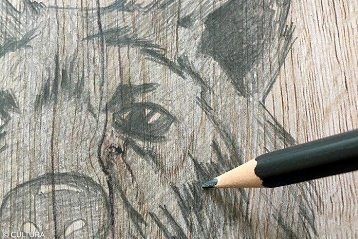 2. Pour apporter davantage d'ombres, colorier par petites touches à l'aide du crayon 6B.