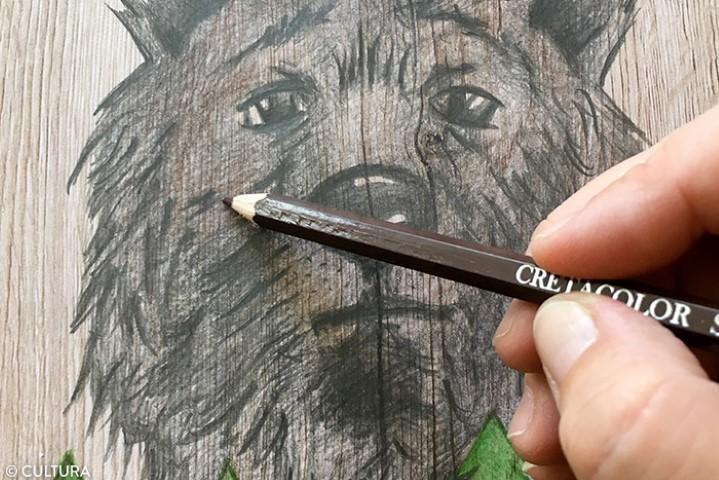 2. Colorier en dessous des yeux et autour de la truffe avec un crayon de couleur marron.