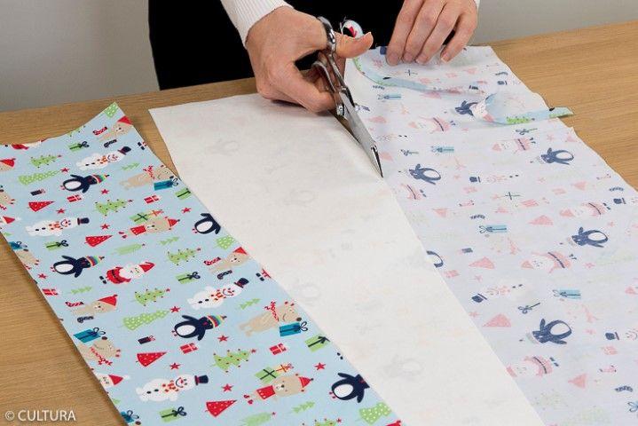1. Créer le rabat sur la partie haute du sac : Couper deux bandes de 52 x 15 cm dans le tissu de la collection.