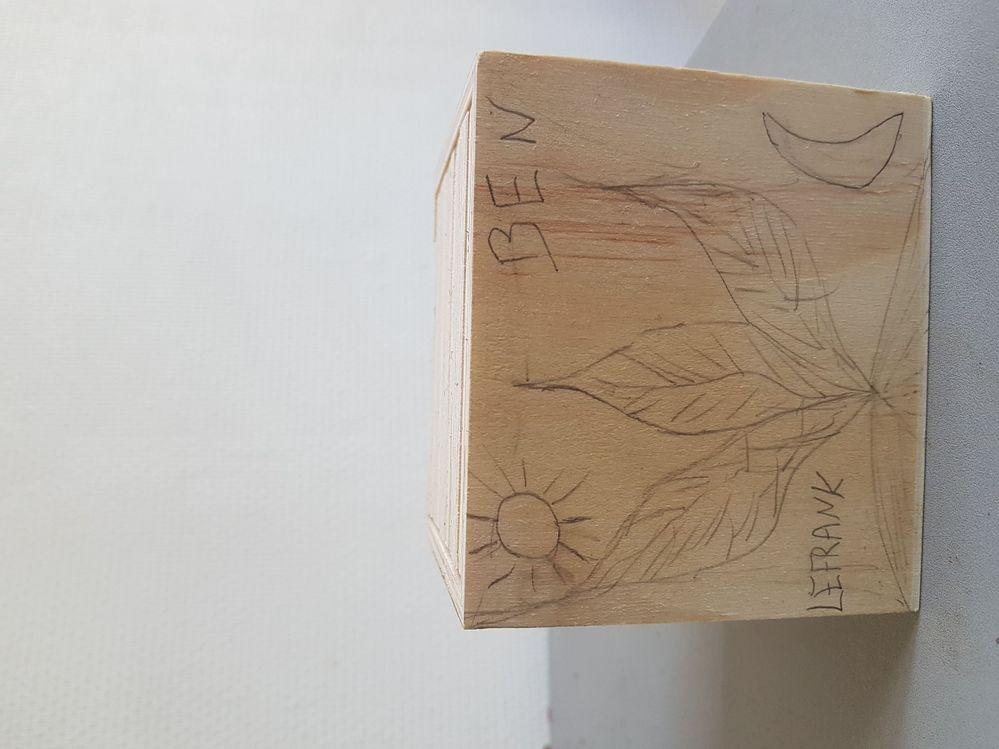1er dessin terminé sur support bois avant de graver