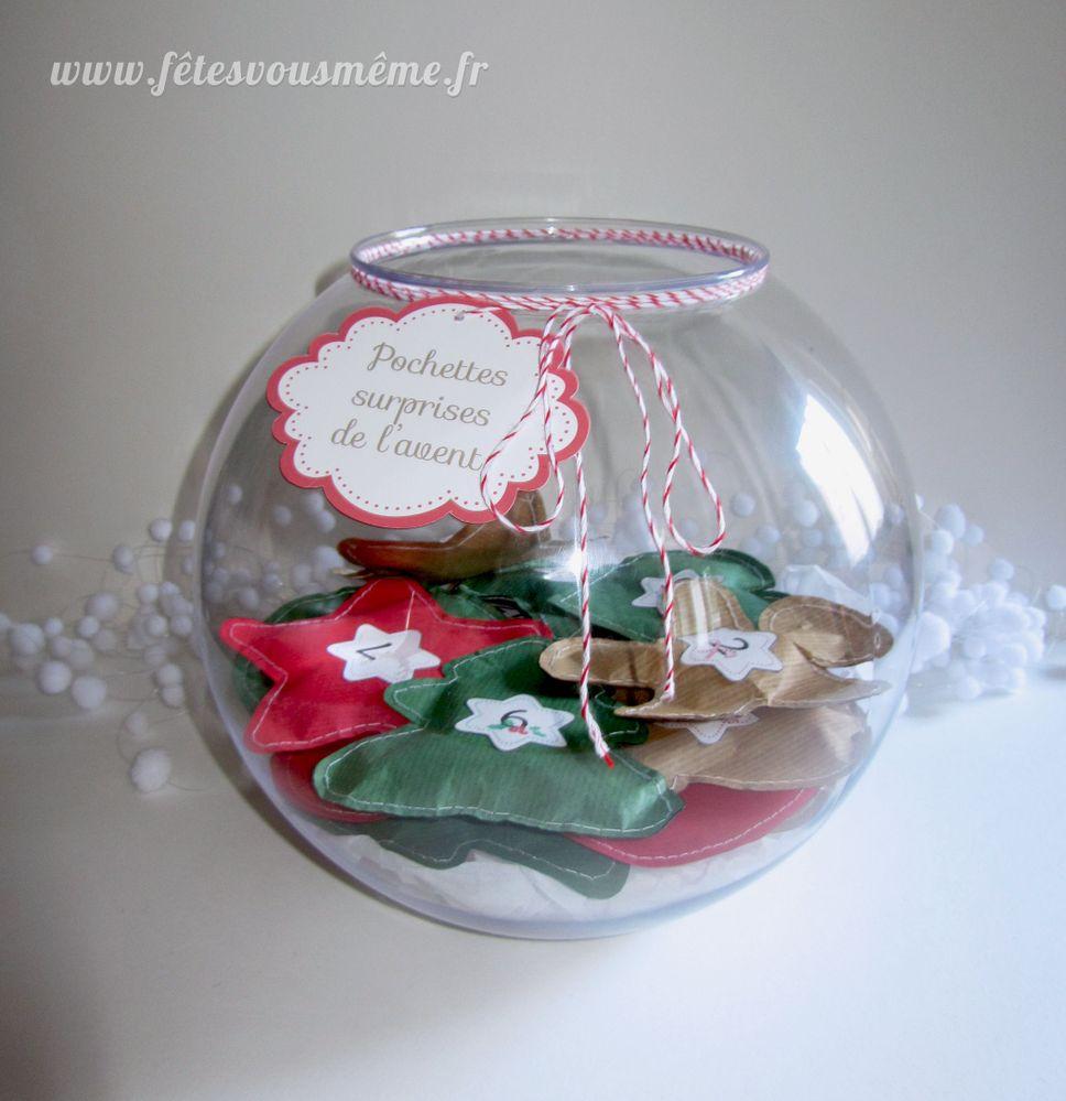 En papier kraft cousu, de jolies pochettes surprenantes à piocher.  Tuto à suivre sur mon blog http://www.fetesvousmeme.fr/pochettes-surprises-de-lavent/