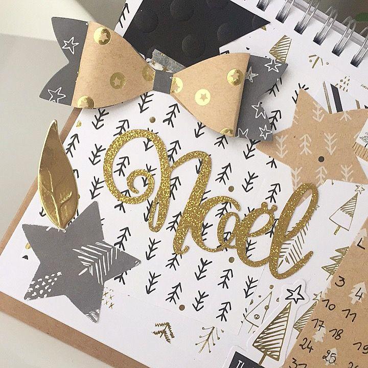 Décoration de la page de mon calendrier faite avec une matrice de découpe feuille, et noeud (de chez Toga). Et des étoiles faites avec une perforatrice de chez Cultura.