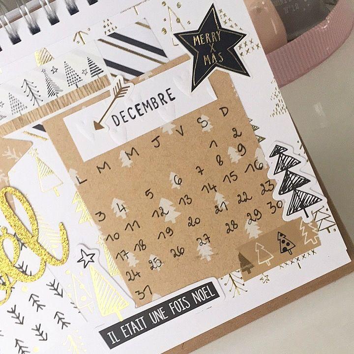 Zoom sur la partie du calendrier du mois de décembre avec quelques formes découpées de la collection HYGGE.
