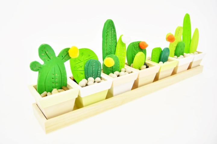10. Répartir les cactus dans chacun des pots. Votre jardinière est prête.