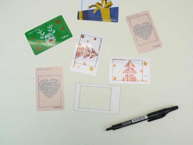 2. Avec votre gabarit et un feutre permanent, tracez  sur les cartes cadeaux les découpes à réaliser.