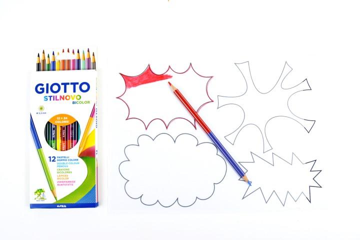 2. Reproduire une bulle sur le plastique créatif blanc et la colorier à l'aide du crayon de couleur rouge.