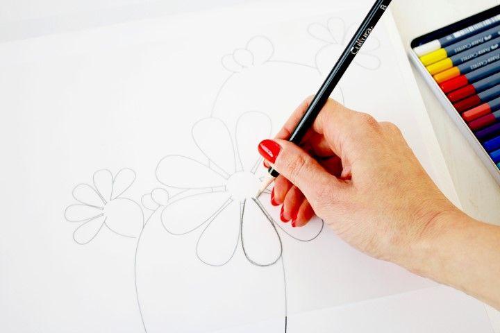 1. A l'aide d'un crayon B, décalquer le motif.