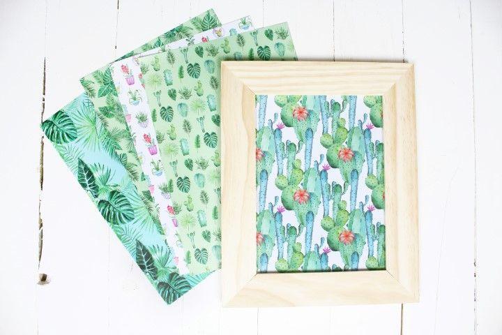 9. Découper les papiers imprimés puis les encadrer pour compléter la création. Une fois les motifs encrés secs, les encadrer également.
