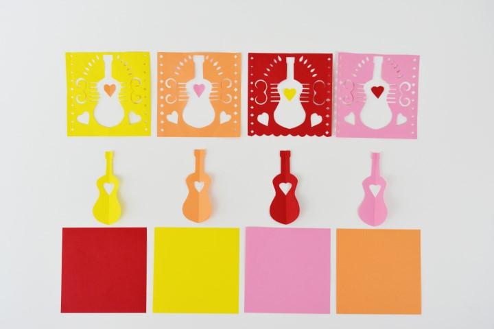 11. Répéter les actions précédentes dans les différentes feuilles de couleur des papiers origami.