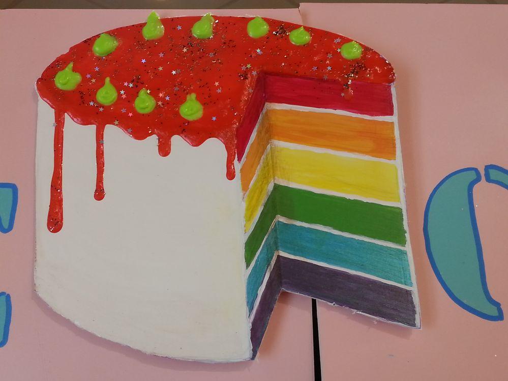 rainbow cake by natacha à l'acrylique avec medium glaçage pour le glaçage , peinture 3D