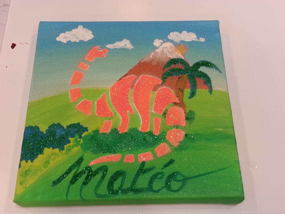 Peindre à l'acrylique le fond du tableau puis à l'aide du pochoir peindre puis pailleter sur la peinture fraiche.laisser sécher et vernir.