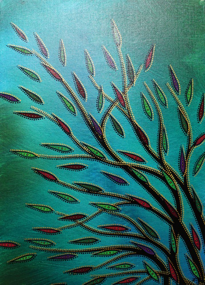 Peinture contemporaine : Végétation colorée 3.