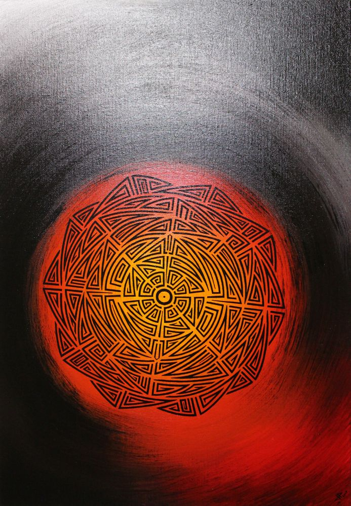 Toile contemporaine : Soleil tribal.