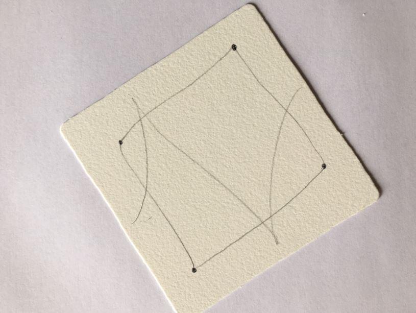 3.De façon totalement spontanée, tracez une ou plusieurs lignes, droites, en courbe ou en zig-zag à l'intérieur de la bordure pour créer des zones.