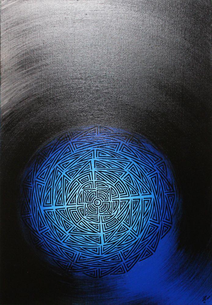 Peinture moderne : Lune tribal.