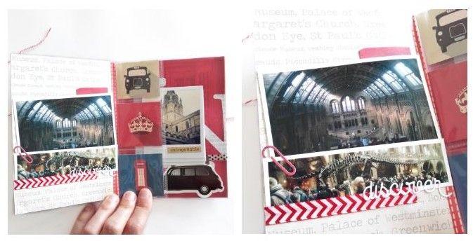 Sur cette page j'ai rajouté comme intercalaire des pochettes transparentes Heidi Swapp pour séparer deux pages et pouvoir rajouter des illustrations sur Londres.
