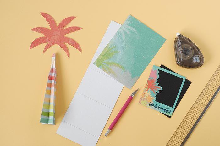 4. Assembler le tronc du palmier. Coller le feuillage. A l'aide du gabarit, reproduire les tracés du support cocktail sur du carton fin en suivant les dimensions indiquées.  Le recouvrir avec le papier de la collection.
