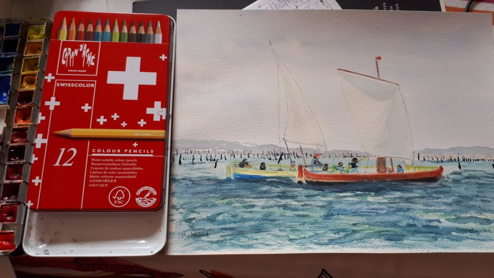crayons quarellables caran d'Ache et aquarelles sennelier