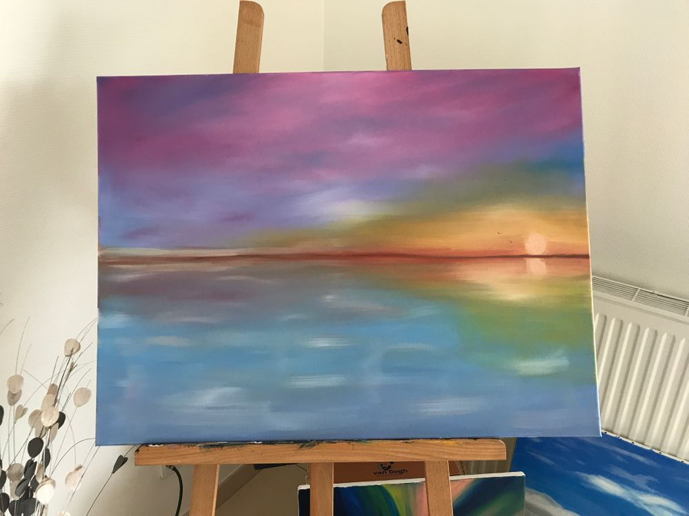 Peinture à l'huile - coucher de soleil