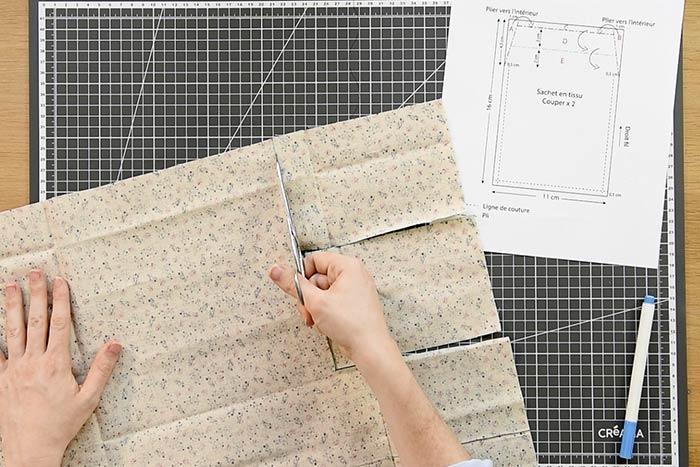 Création d'un sachet en tissu Télécharger et imprimer le gabarit du sachet en tissu sur cultura.com.  Tracer les lignes de coupes et de plis sur le coupon de tissu choisi. Couper les deux pièces.