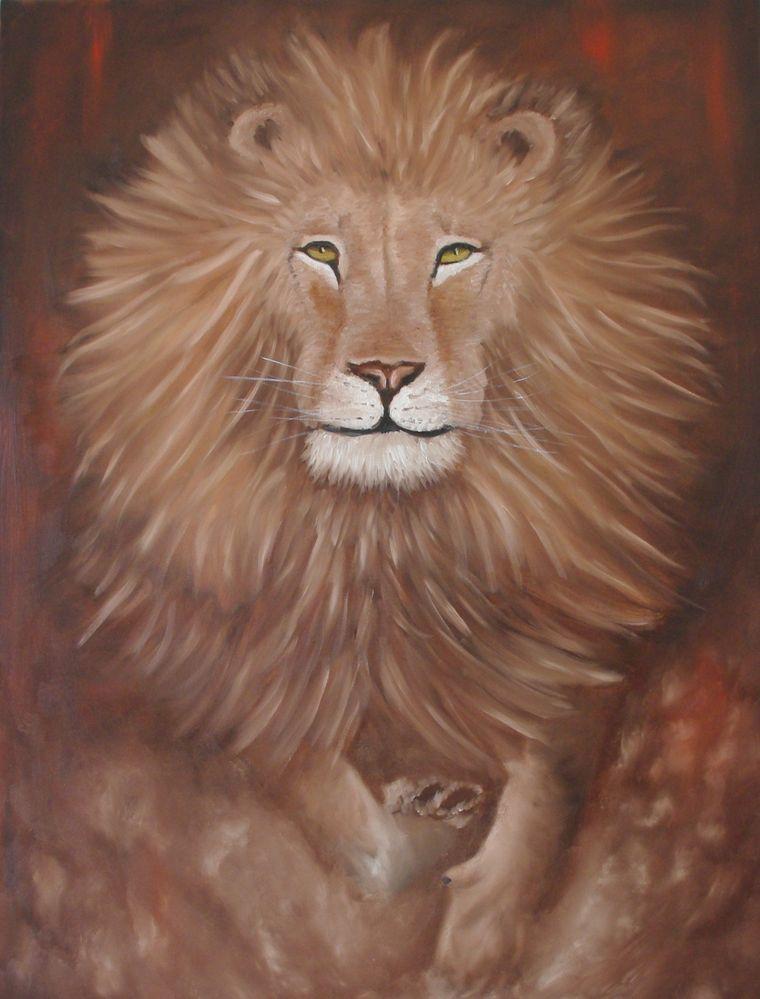 Lion 116x89 cm à l'huile