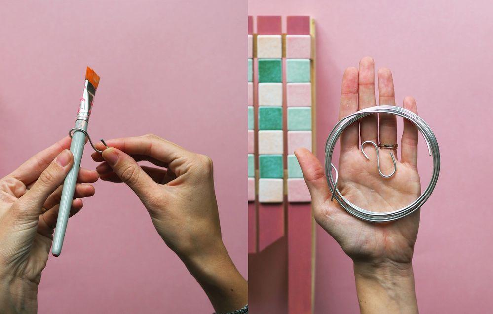 ETAPE 4 / Création de petits crochets, pour accrocher vos torchons, ustensiles. A l'aide de fil de fer assez épais, vous venez le tordre autour d'un pinceau (ou stylo) large pour qu'il puisse prendre une jolie forme arrondie, répéter la même manipulation pour l'autre côté.