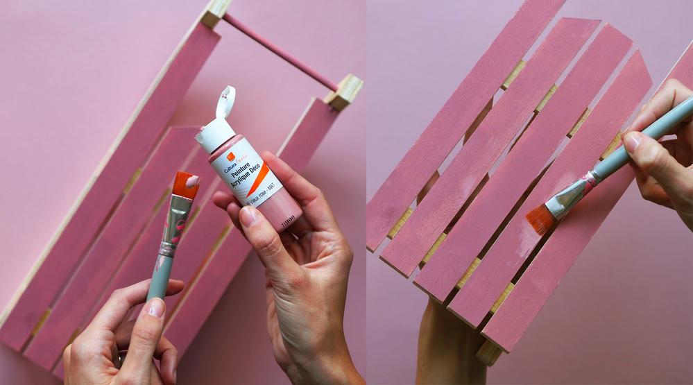 ETAPE 1 / Peindre la structure de la luge (de la couleur que vous souhaitez)