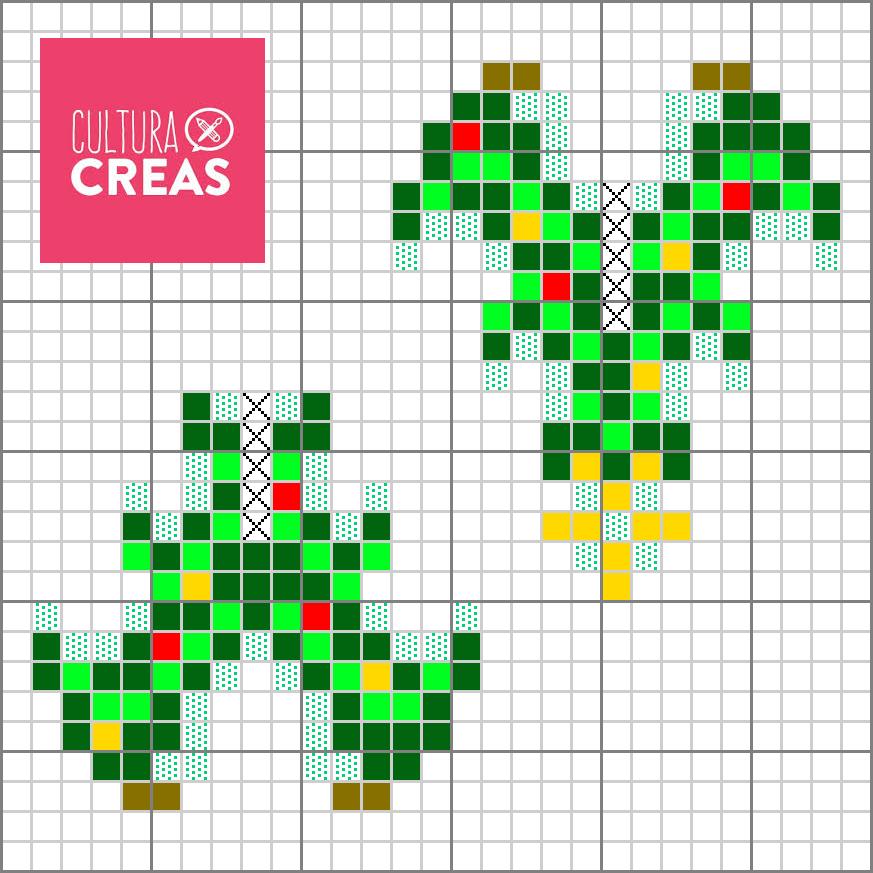 Les perles en pointillés verts sont phosphorescentes! Les croix signifient qu'on laisse un espace vide! Les perles blanches sont symbolisées par les carrés en pointillés