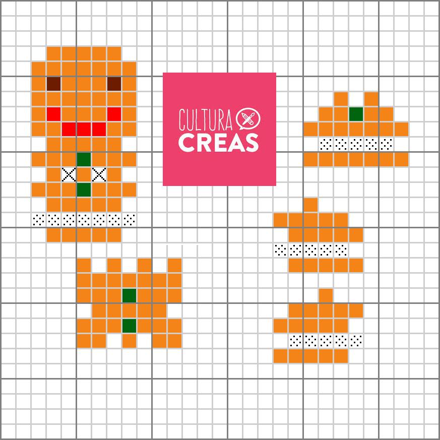 Les croix signifient qu'on laisse un espace vide! Les perles blanches sont symbolisées par les carrés en pointillés