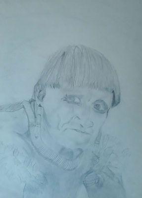 Mon premier dessin. Bien sûr il a vieilli car je ne connaissais pas le fixatif à l'époque mais il a du sens pour moi.