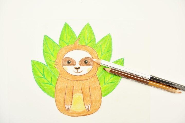 3. Poursuivre le coloriage du paresseux avec les crayons marrons et le blanc pour le visage, les pattes et la lueur dans les yeux. 