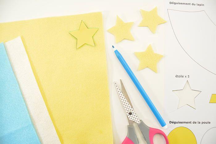1.  Télécharger, imprimer, découper et reporter les gabarits sur les feuilles de feutrine indiquées. Découper les contours de chaque forme.