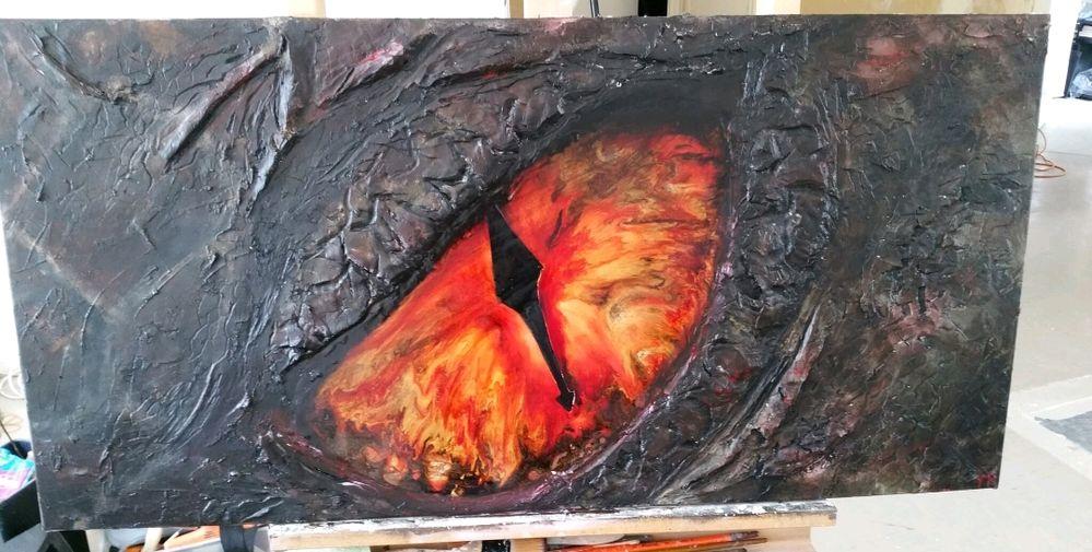 Oeil de dragon, enduit, peinture acrylique, peinture vitrail pebeo et peinture moon, encre de chine.