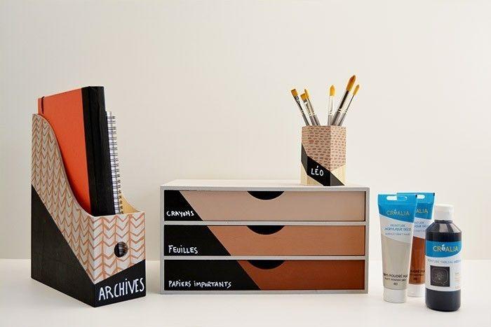 ETAPE 6/6 Pensez également au casier 3 tiroirs pour décorer votre bureau dans le même esprit de cette collection ethnique. Ecrire sur la partie ardoise des supports à l'aide du marqueur chalk ou d'une craie blanche : archives, papiers importants...