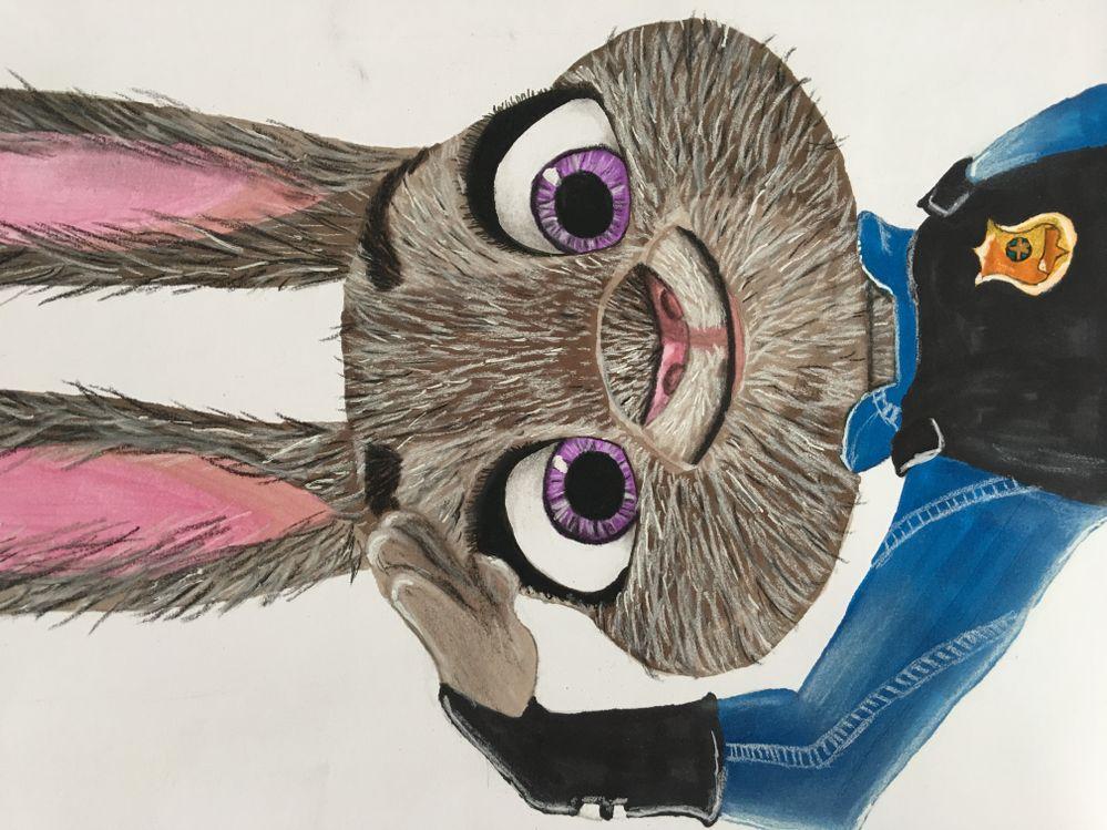 Dessin de ma fille mélange promarkers et crayons pastels